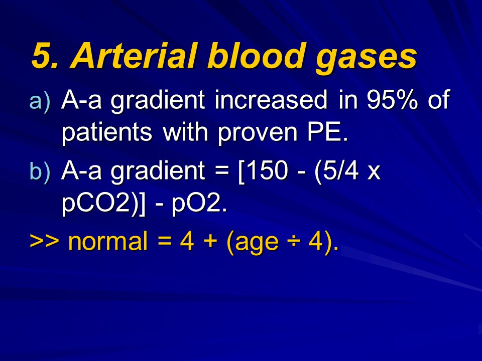 5. Arterial blood gases A-a gradient increased in 95% of patients with proven PE. A-a gradient = [150 - (5/4 x pCO2)] - pO2.